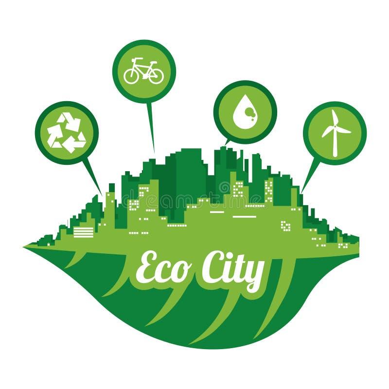 Grafico dell'illustrazione eps10 di vettore di progettazione della città di Eco royalty illustrazione gratis