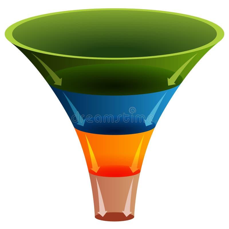 grafico dell'imbuto stratificato 3d illustrazione di stock