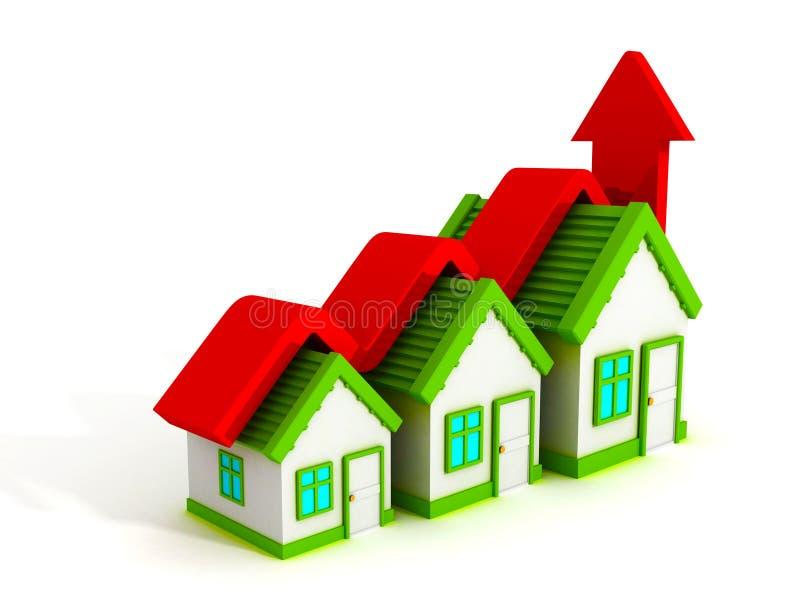 Grafico della casa di concetto del bene immobile di crescita con la freccia in aumento illustrazione vettoriale