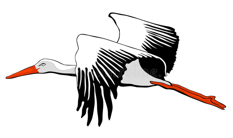Grafico della cicogna bianca illustrazione vettoriale