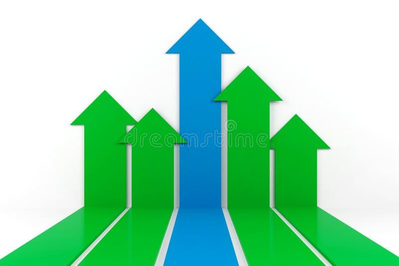 Grafico della freccia di affari su fondo bianco, rappresentazione 3D royalty illustrazione gratis