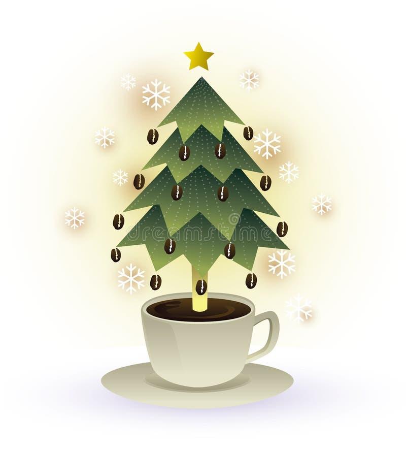 Grafico della tazza di caffè dell'albero di Natale royalty illustrazione gratis