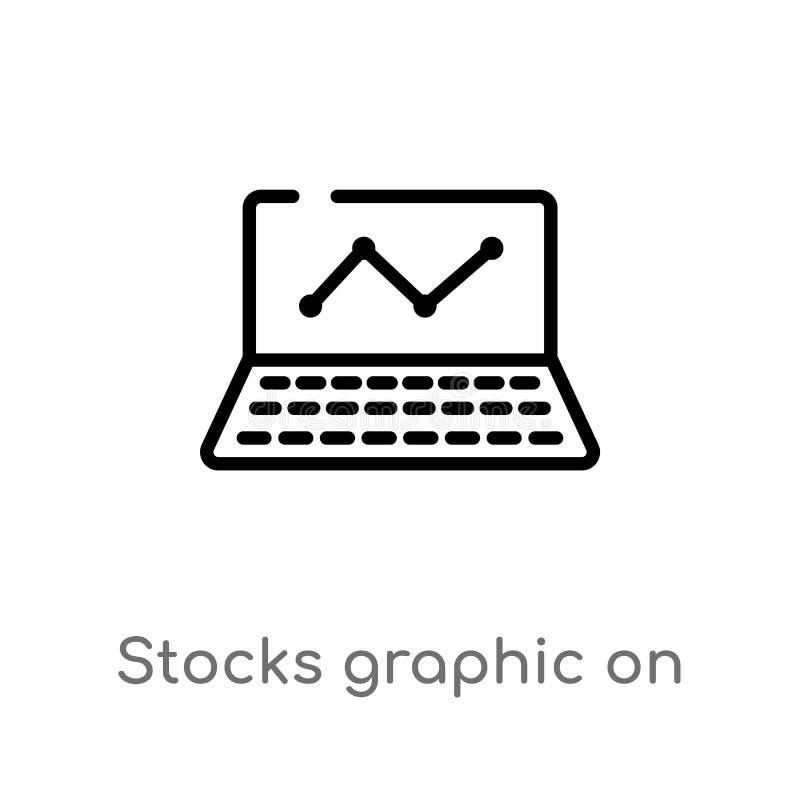 grafico delle azione del profilo sull'icona di vettore del monitor del computer portatile linea semplice nera isolata illustrazio royalty illustrazione gratis
