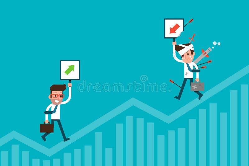 Grafico delle azione e dell'uomo d'affari Fumetto piano di progettazione illustrazione di stock