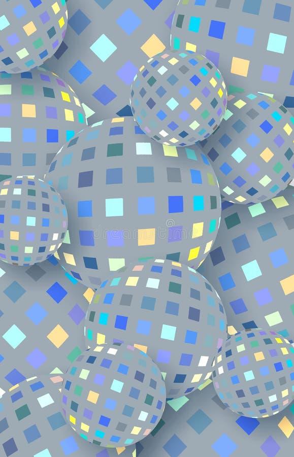 Grafico delle palle di vetro di scintillio Modello di mosaico giallo blu grigio Fondo verticale geometrico 3d dell'estratto illustrazione di stock