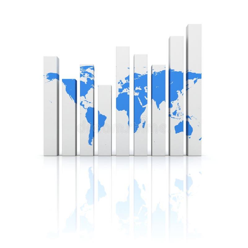Grafico dello schema di affari con il programma di mondo blu illustrazione di stock
