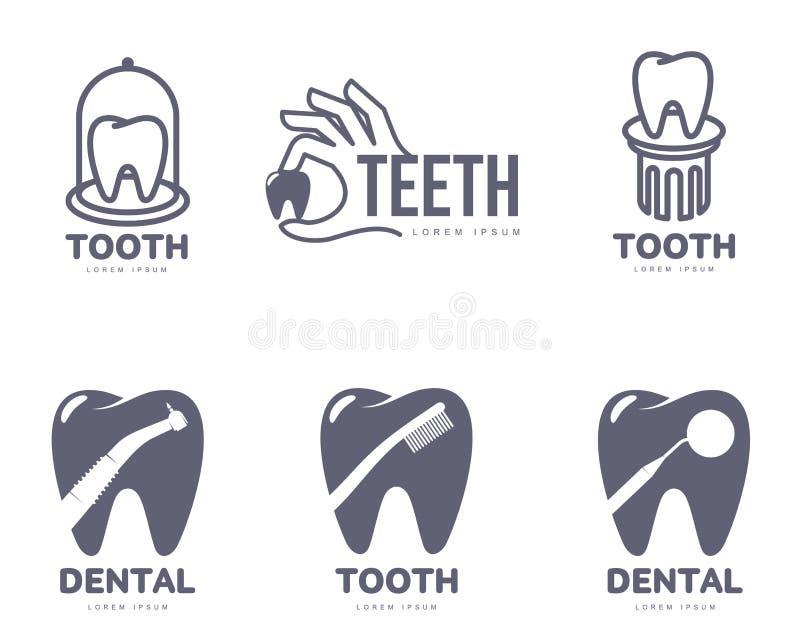 Grafico, dente in bianco e nero, modelli di logo di cure odontoiatriche illustrazione di stock