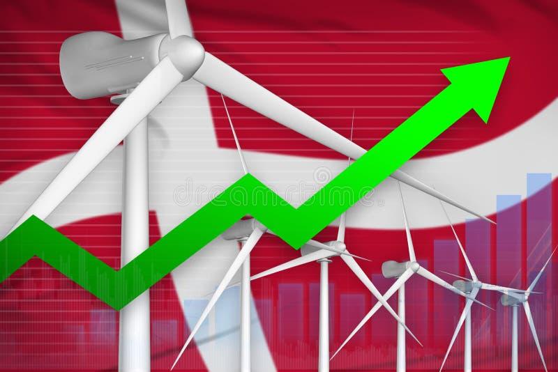 Grafico di aumento di potere dell'energia eolica della Danimarca, freccia - sull'illustrazione industriale rinnovabile di energia illustrazione vettoriale