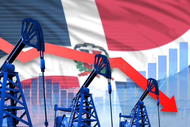 Grafico di caduta, abbassandosi sul fondo della bandiera della Repubblica dominicana - illustrazione industriale di industria pet fotografia stock libera da diritti