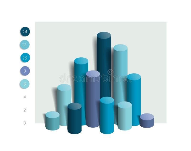 grafico di colonna 3D, grafico Colore semplicemente blu editabile illustrazione di stock