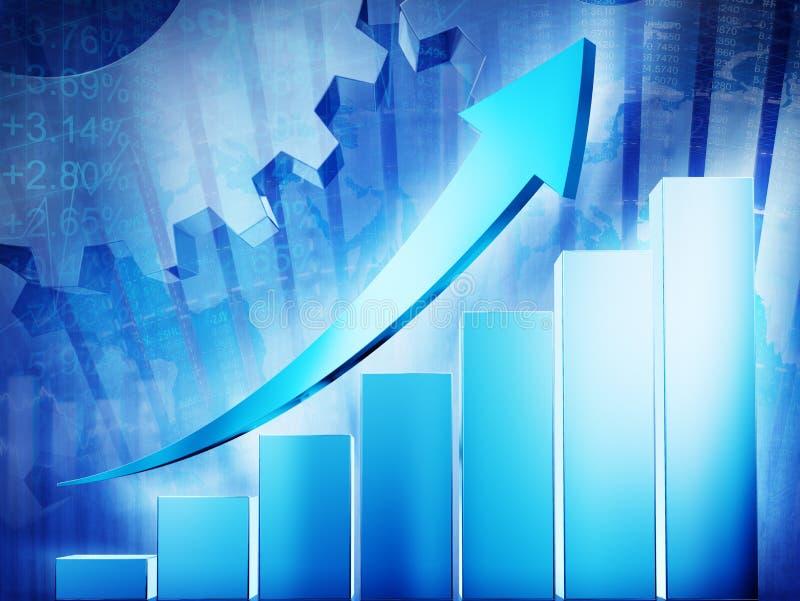 Grafico di crescita con il segno della freccia immagine stock libera da diritti