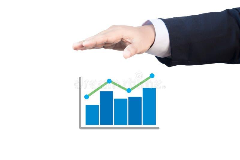 Grafico di crescita del comando manuale di affari fotografia stock