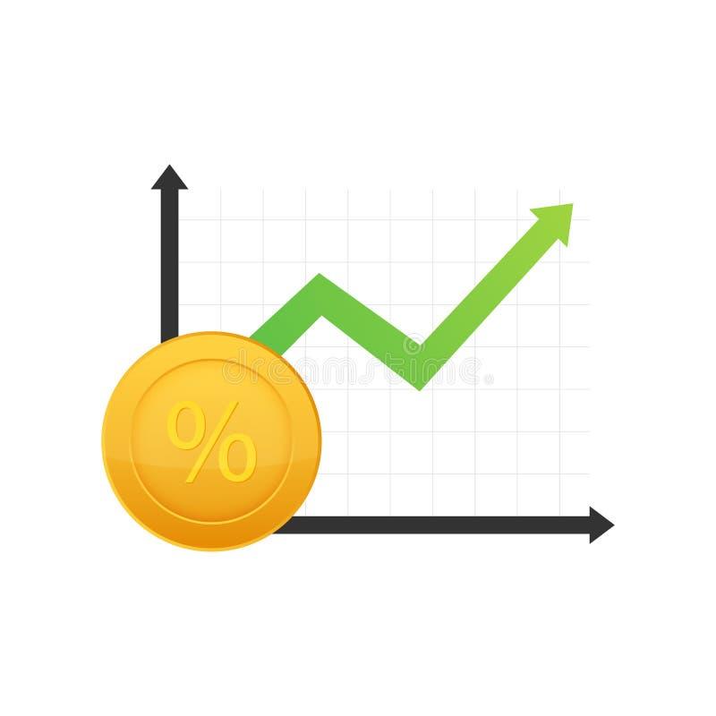 Grafico di crescita delle percentuali Simbolo di percentuale di credito Illustrazione di riserva di vettore illustrazione di stock