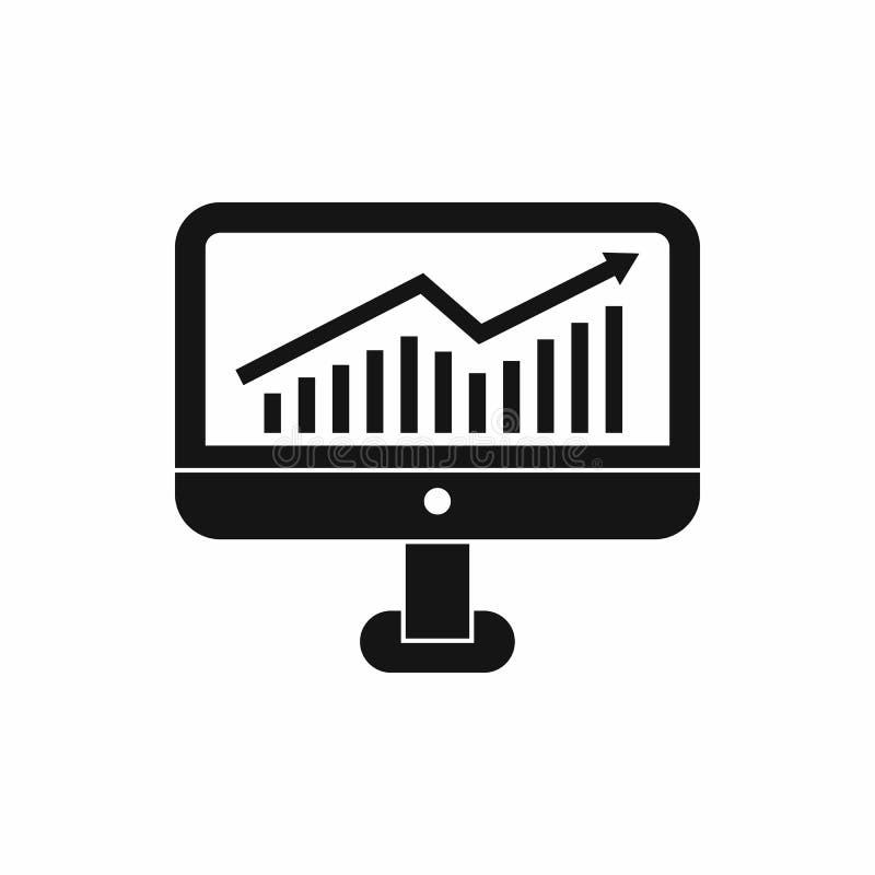 Grafico di crescita sull'icona del monitor del computer illustrazione di stock