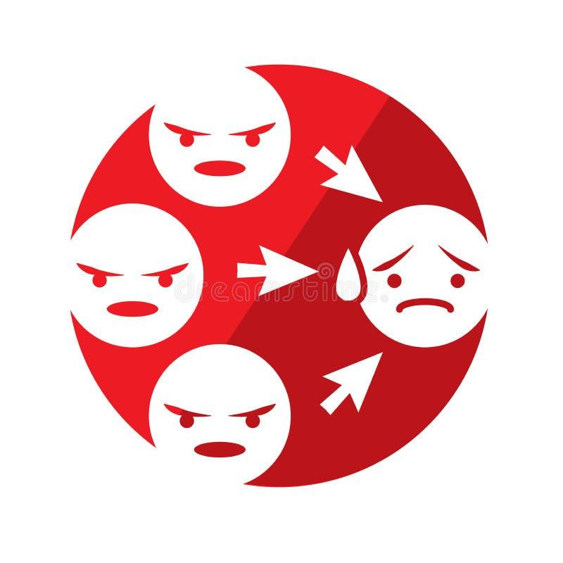 Grafico di cyberbullismo con la vittima royalty illustrazione gratis