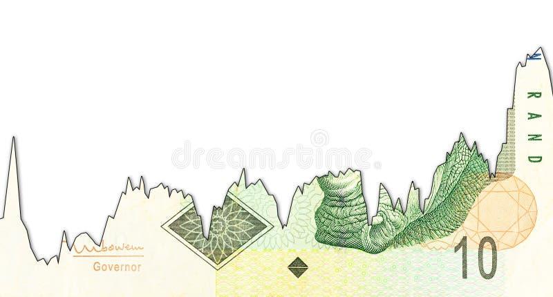 grafico di declino della banconota da 10 Rand sudafricani che indica tasso di cambio con il copyspace immagine stock libera da diritti