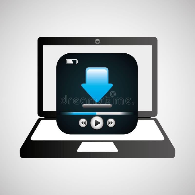 Grafico di download del lettore multimediale del computer portatile illustrazione vettoriale