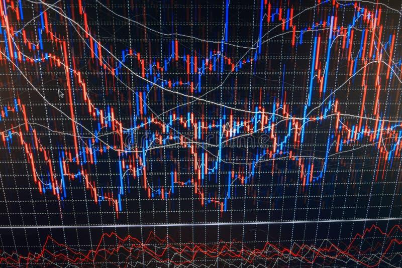 Grafico di economia del mondo Concetto di finanze Grafici del mercato azionario dei forex sul visualizzatore del computer Grafici illustrazione di stock