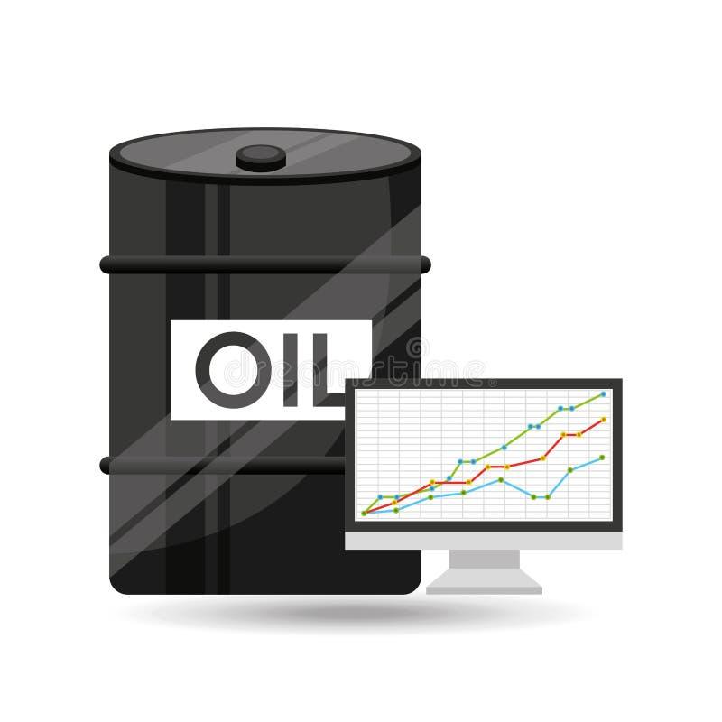 Grafico di finanza di concetto dell'olio del barilotto illustrazione vettoriale