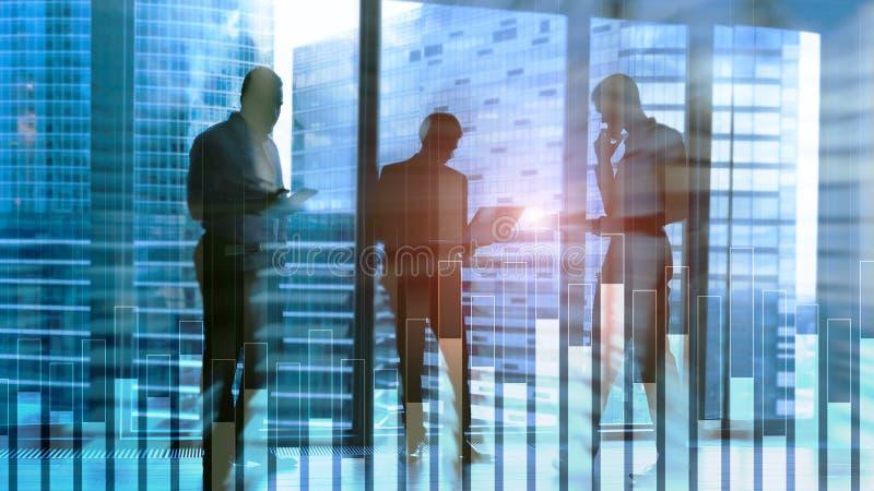 Grafico di finanza e di affari su fondo vago Concetto di commercio, di investimento e di economia immagini stock libere da diritti