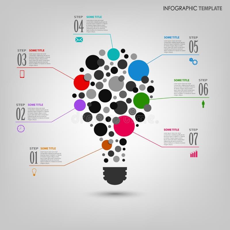 Grafico di informazioni con il modello della lampadina colorato estratto illustrazione vettoriale