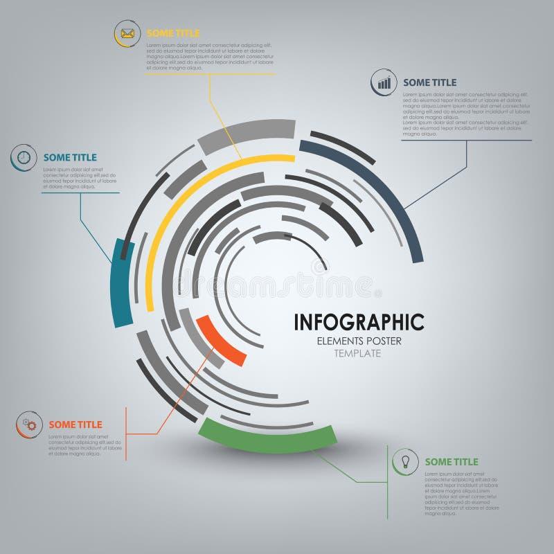 Grafico di informazioni con il modello rotondo di progettazione tecnica astratta royalty illustrazione gratis