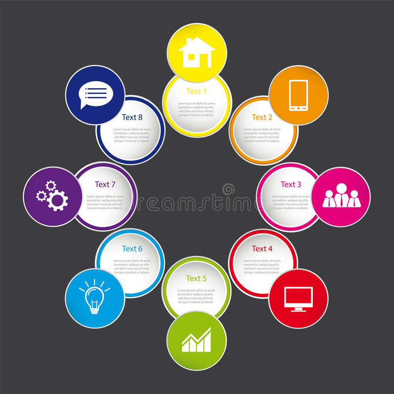Grafico di informazioni con le icone di web sui bottoni rotondi, illustrazione vettoriale