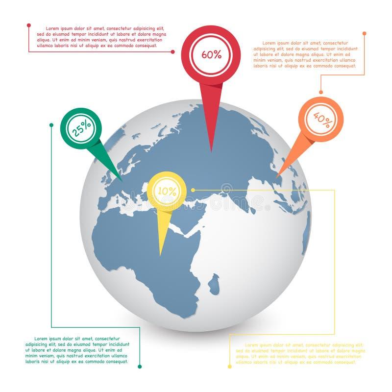 Grafico di informazioni del globo della mappa di mondo per il concetto di comunicazione royalty illustrazione gratis