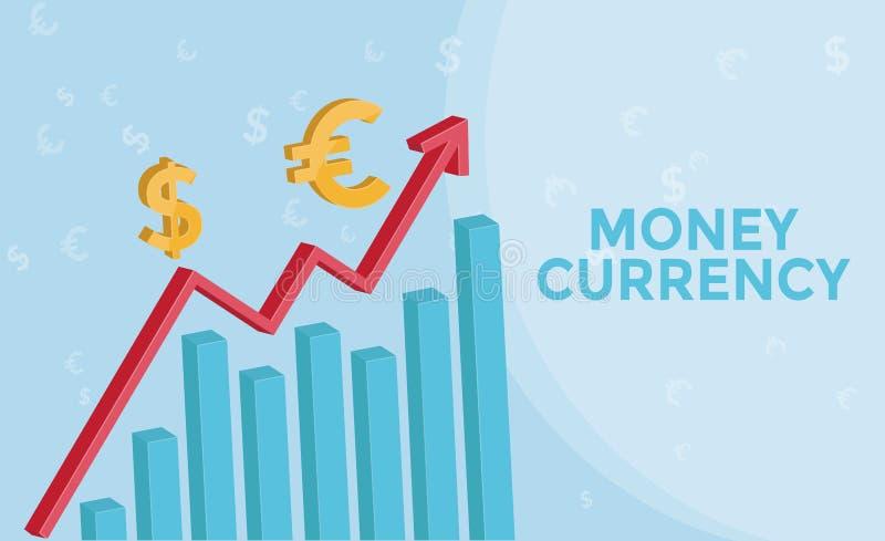 Grafico di informazioni di mercato dei cambi con 3d la freccia, euro simbolo, simbolo del dollaro americano Concetto di affari de illustrazione vettoriale