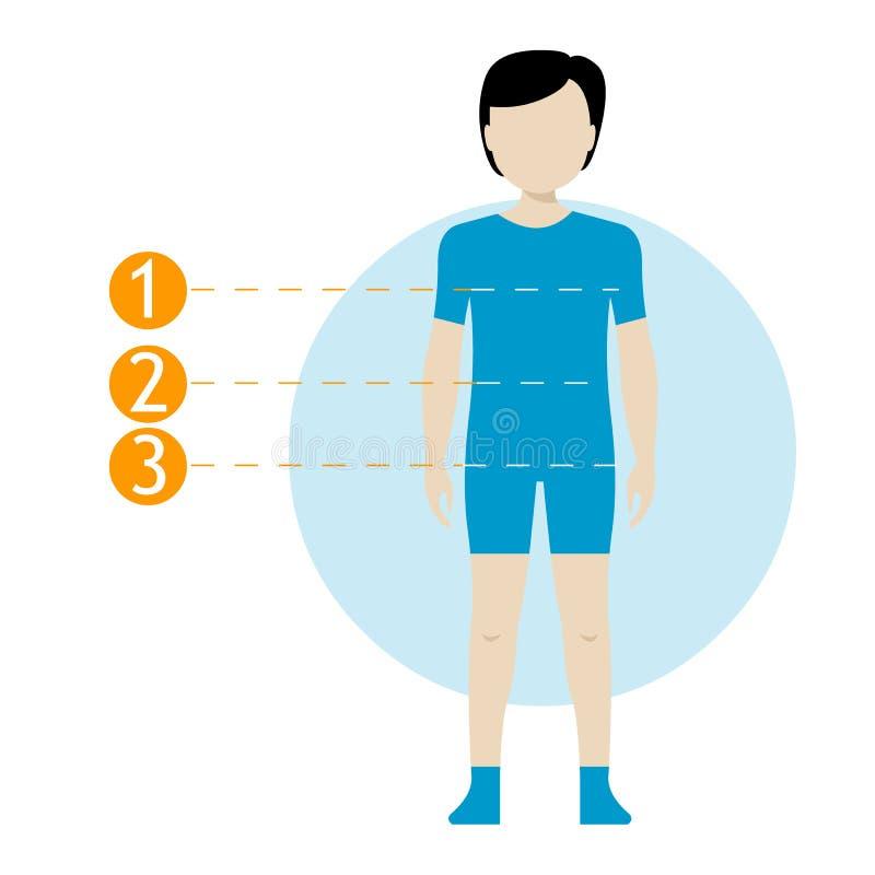 Grafico di misura del corpo del bambino Corpo umano di misura di schema per i vestiti di cucito Figure della ragazza e del ragazz royalty illustrazione gratis