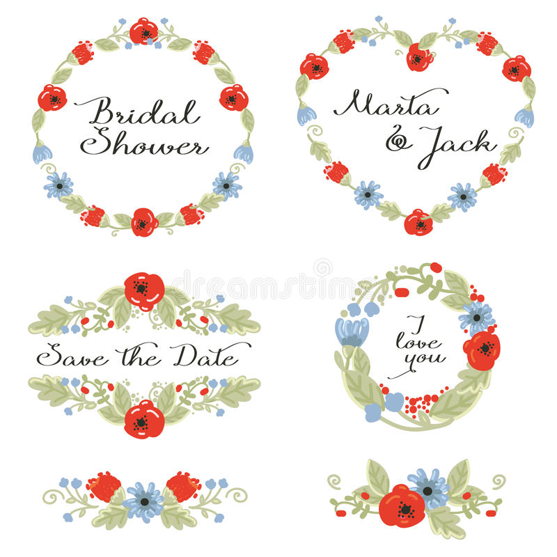 Grafico di nozze messo: strutture, corona e fiori illustrazione di stock