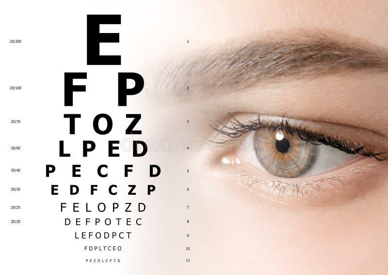 Grafico di occhio e della donna Consultazione dell'oftalmologo illustrazione vettoriale