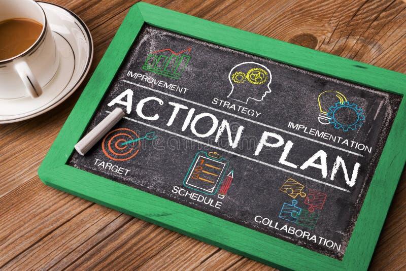 Grafico di piano d'azione con le parole chiavi e gli elementi fotografia stock