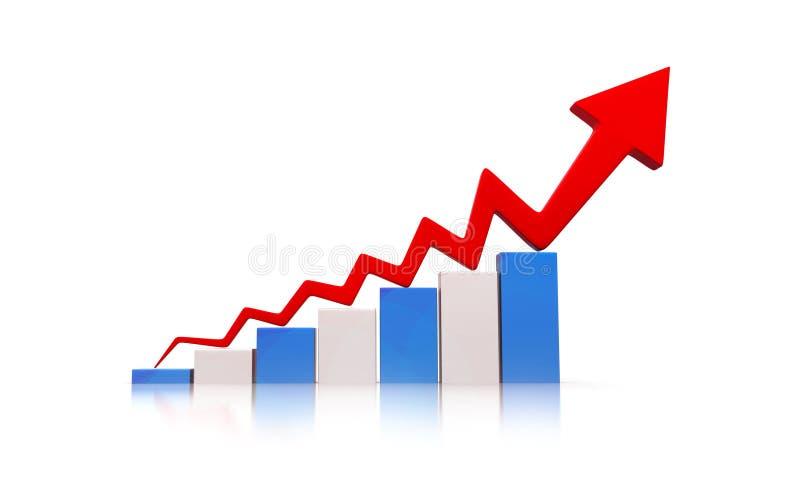Grafico di recessione economica illustrazione di stock