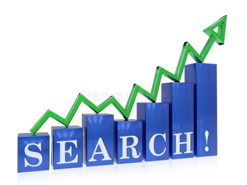 Grafico di ricerca in aumento illustrazione vettoriale