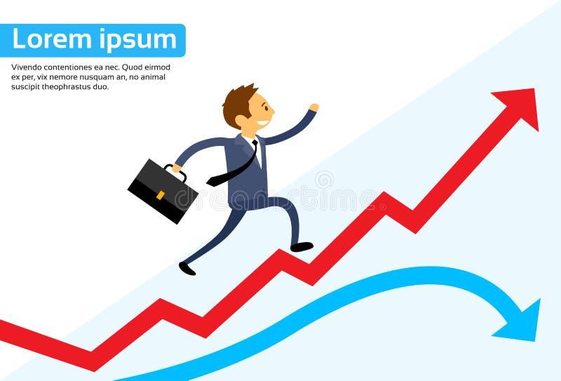 Grafico di Running Red Arrow dell'uomo d'affari su che scala royalty illustrazione gratis