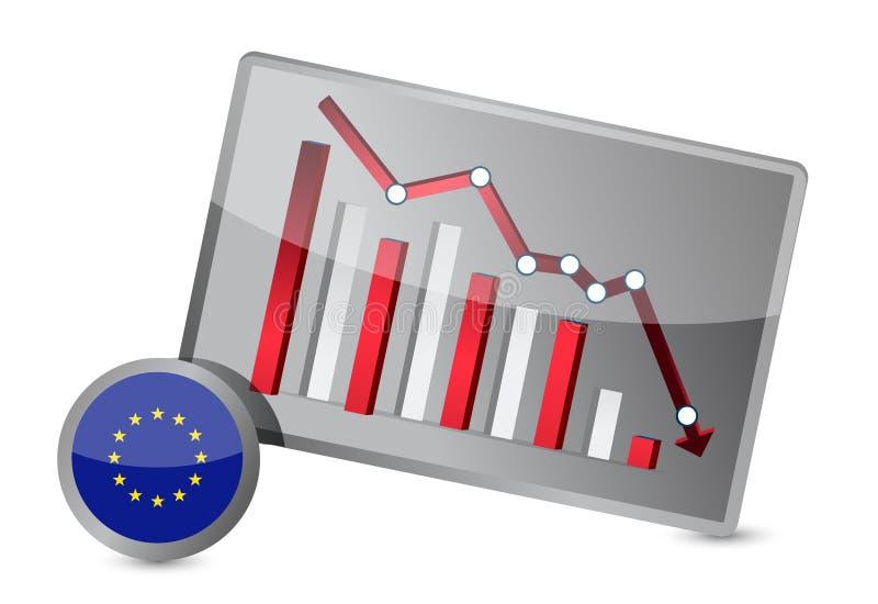 Grafico di sofferenza di crisi del sindacato europeo illustrazione di stock