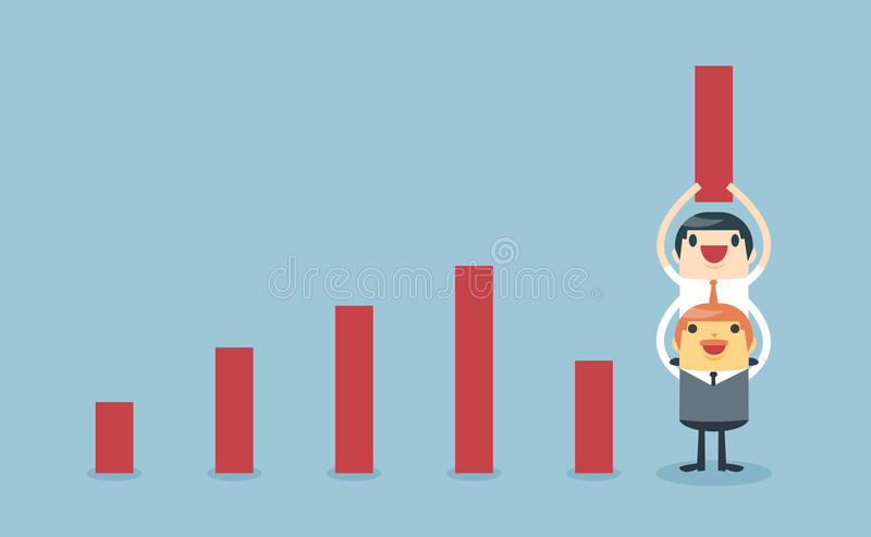 Grafico di sollevamento di aumento dell'uomo d'affari con supporto dal capo royalty illustrazione gratis
