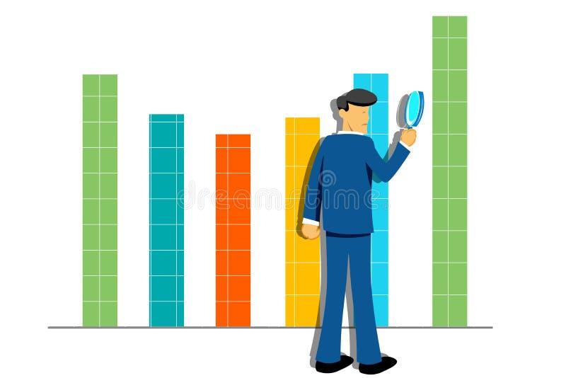 Grafico di sviluppo con l'uomo d'affari illustrazione vettoriale