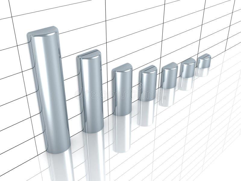 Grafico di sviluppo di affari con le barre d'argento illustrazione di stock