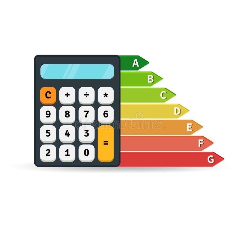 Grafico di tasso di rendimento energetico con il calcolatore concetto di progetto piano royalty illustrazione gratis