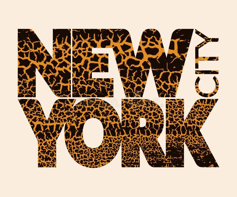 Grafico di tipografia di New York City Craquelure illustrazione di stock