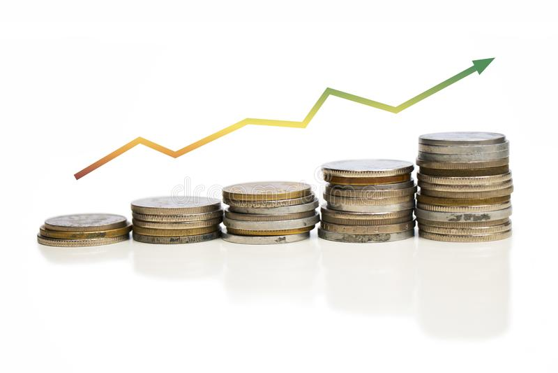 Grafico di valore aumentare delle monete con la freccia Immagine della crescita dell'impresa C fotografia stock