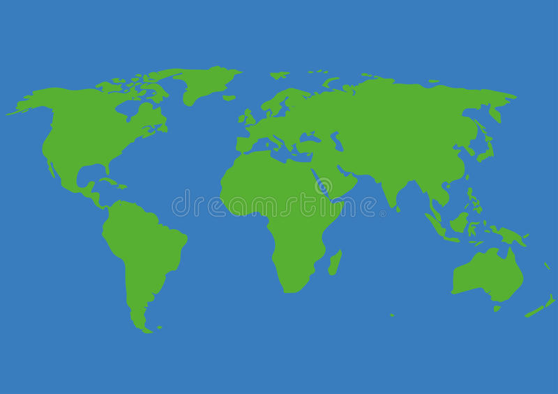 Grafico di vettore dell'illustrazione della mappa di mondo, verde, blu royalty illustrazione gratis