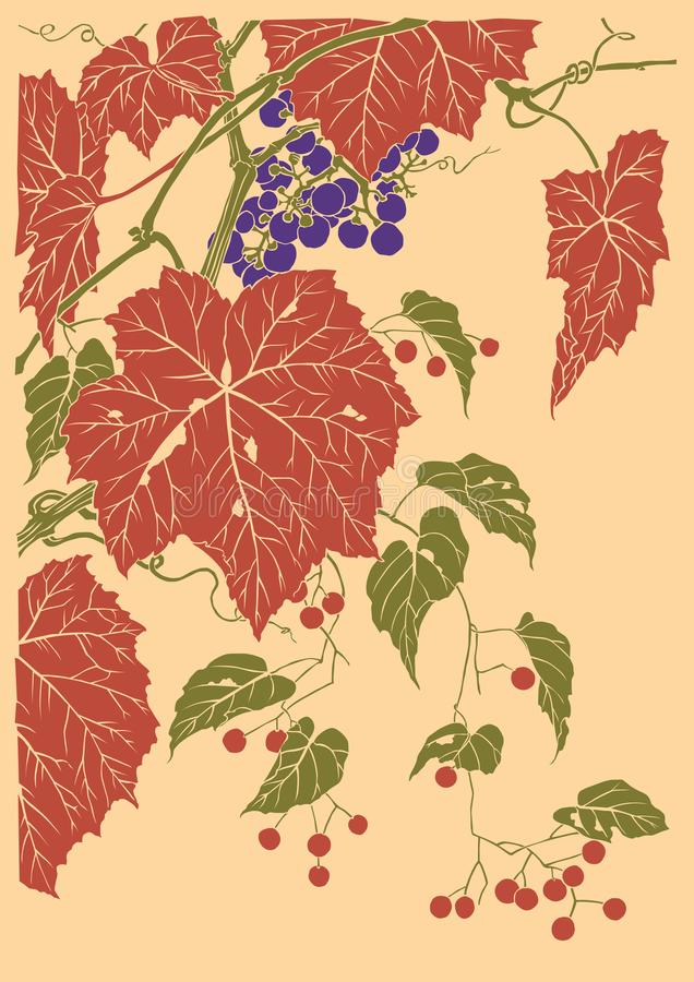 Grafico di vettore della frutta dell'uva basato sull'incisione del Giappone illustrazione di stock