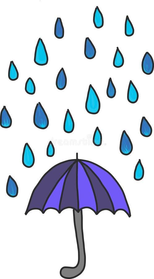 Grafico di vettore delle gocce di pioggia e dell'ombrello immagine stock libera da diritti
