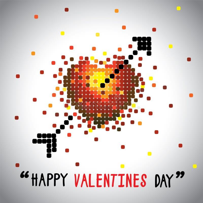 Grafico di vettore felice di giorno di biglietti di S. Valentino con il simbolo e la freccia di amore illustrazione vettoriale