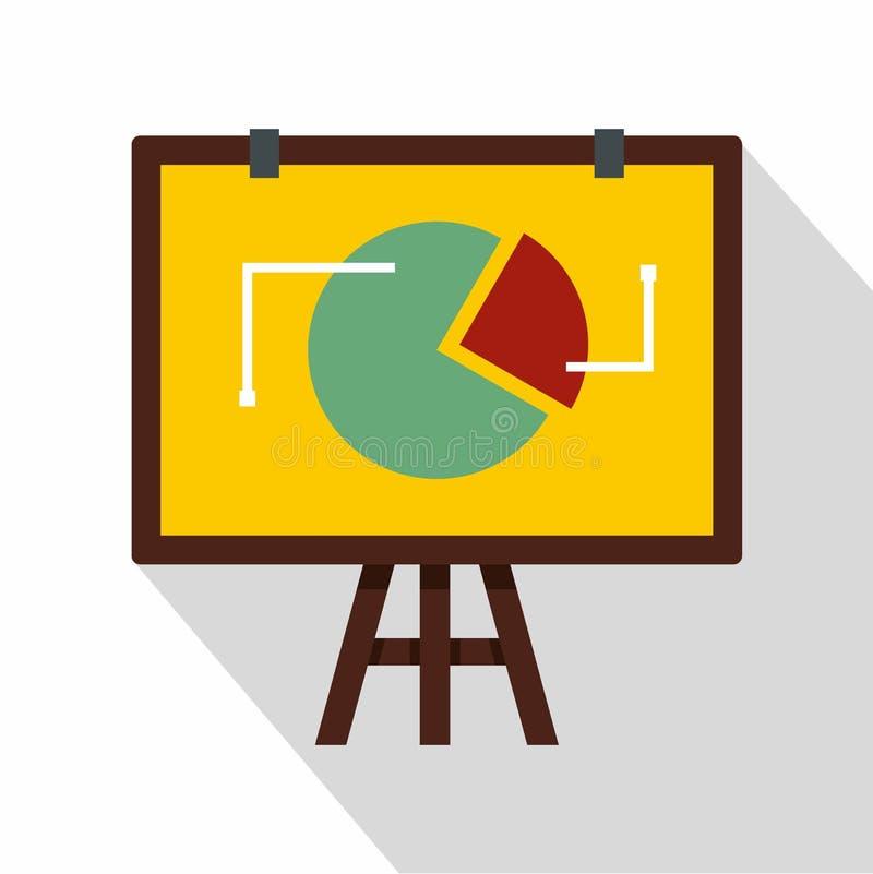 Grafico di vibrazione con l'icona di statistiche, stile piano illustrazione di stock