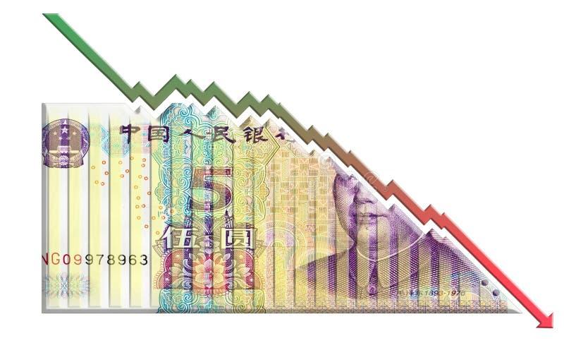 Grafico diminuente dei soldi fotografia stock