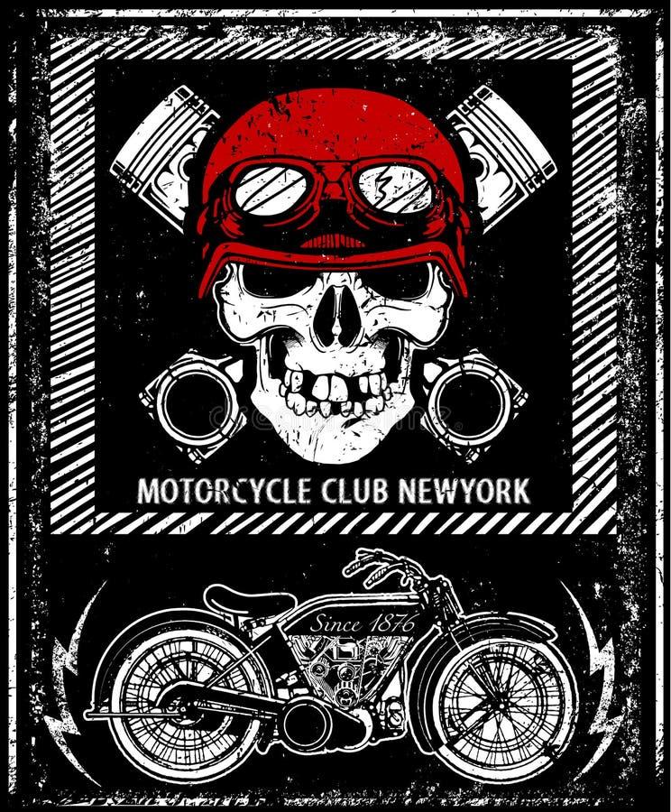 Grafico disegnato a mano de del T del casco del cranio di vettore del motociclo d'annata illustrazione vettoriale